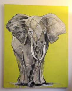 Elephant in Lime and Gray